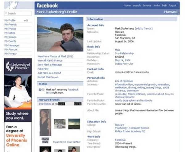 Facebook in the 2004. Profile info